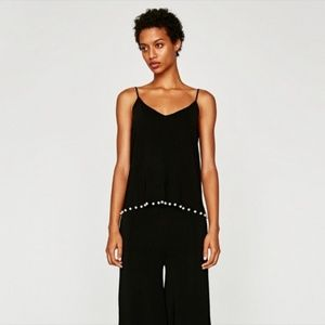 Zara Knit Strappy Top with Pearl Embellishment